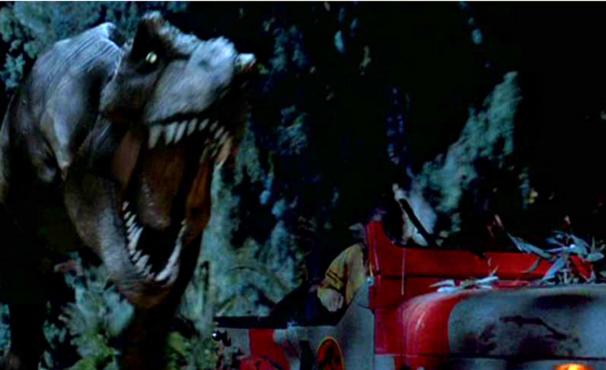 Na cena original de 'Jurassic Park', T-Rex persegue jeep  (Foto: Divulgação)