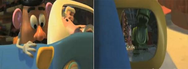 Na cena, Sr. Batata olha pelo retrovisor e vê o dinossauro correndo atrás do carro (Foto: Divulgação)