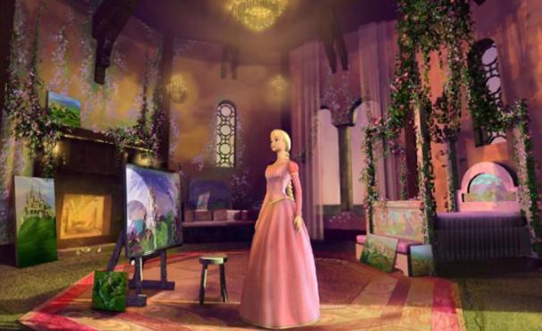 Barbie em versão Rapunzel no filme (Foto: Divulgação)