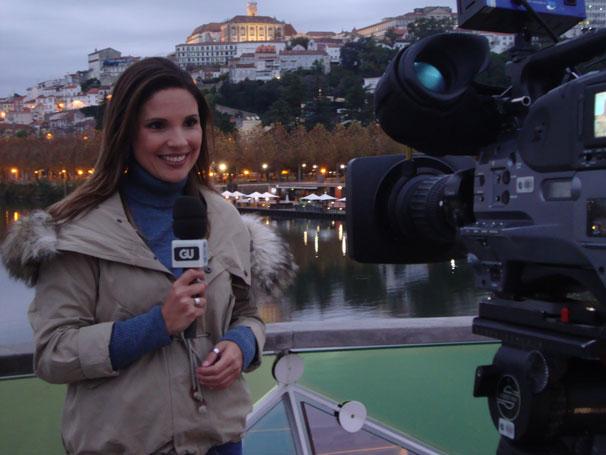 Lizandra Trindade e a equipe do Globo Universidade em Coimbra, Portugal (Foto: Divulgação)