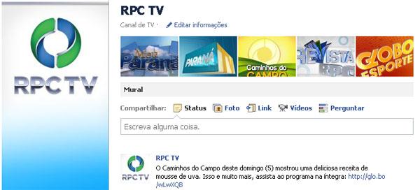 Fan page da RPC TV (Foto: Divulgação)