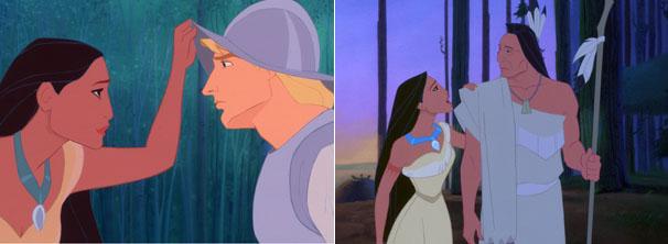 Chefe da tribo não aceita romance de Pocahontas com Smith (Foto: Divulgação / Disney)