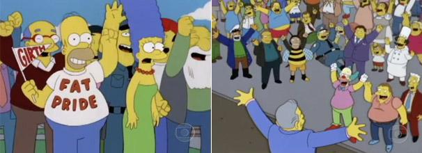 Todos comemoram o título de cidade mais gorda, exceto Marge (Foto: Reprodução)