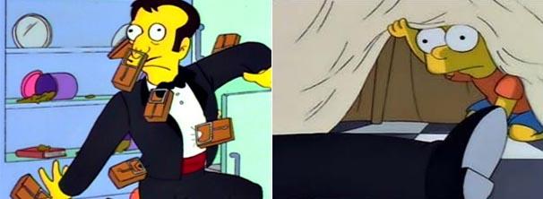 Escondido debaixo da mesa, Bart vê o que realmente aconteceu (Foto: Divulgação/TV Globo)