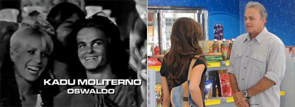 Kadu Moliterno com Arlette Salles na abertura de Selva de Pedra e com Carla Salle em cena de Malhação (Foto: Divulgação TV Globo)