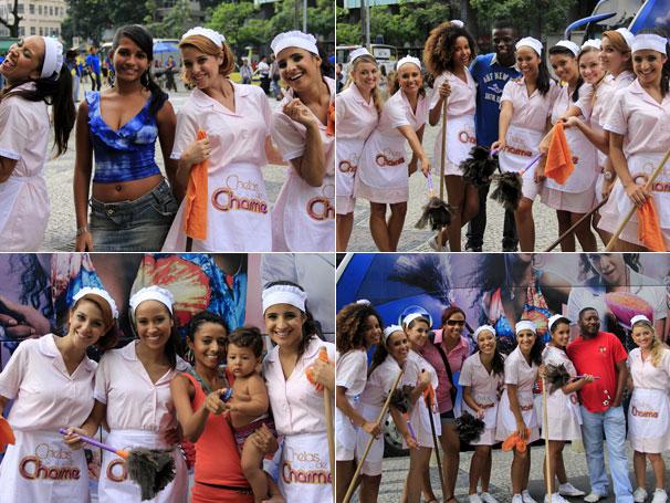 Espectadores paravam para tirar fotos com as produtoras (Foto: TV Globo / Miriam Paço)