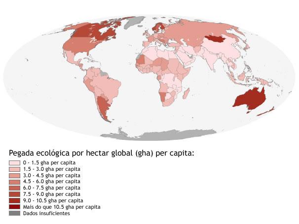 Mapa mostra as regiões onde se tem as maiores pegadas ecológicas (Foto: Global Footprint Network)