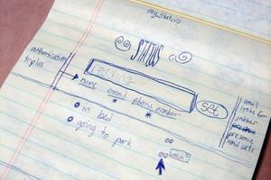 Primeiras ideias do Twitter em um rascunho feito por Jack Dorsey (Foto: Divulgação) (Foto: Primeiras ideias do Twitter em um rascunho feito por Jack Dorsey (Foto: Divulgação))
