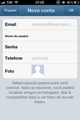 Criar uma nova conta no Instagram é muito simples (Foto: Criar uma nova conta no Instagram é muito simples)