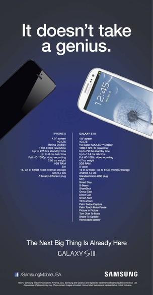 Propagando do Galaxy S3 comparando-o com iPhone 5 (Foto: Reprodução) (Foto: Propagando do Galaxy S3 comparando-o com iPhone 5 (Foto: Reprodução))