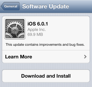 Lançado iOS 6.0.1 para usuários de iPads e iPhones/iPods touch (Foto: Reprodução/9to5mac) (Foto: Lançado iOS 6.0.1 para usuários de iPads e iPhones/iPods touch (Foto: Reprodução/9to5mac))