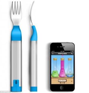 Garfo HAPIfork envia informações sobre alimentação para aplicativo no celular (Foto: Reprodução/Daily Mail)