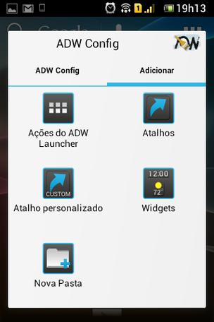 Mais configurações disponíveis no ADW Launcher, inclusive a de criar novas pastas (Foto: TechTudo)
