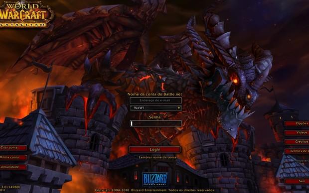 Tela de Login World of Warcraft (Foto: Reprodução)
