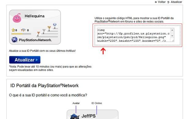 Código HTML para importar seu PSN Card (Foto: Reprodução)