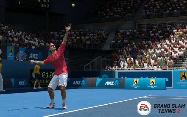 Roger Federer se prepara para sacar na Rod Laver Arena (Foto: Divulgação) (Foto: Roger Federer se prepara para sacar na Rod Laver Arena (Foto: Divulgação))