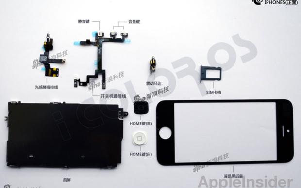 Suposto iPhone 5 desmontado (Foto: Reprodução/iColorOS) (Foto: Suposto iPhone 5 desmontado (Foto: Reprodução/iColorOS))