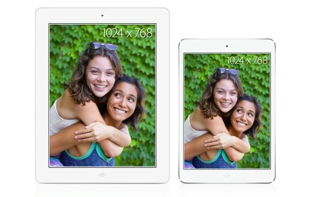 Quarta geração do iPad comparada com a nova versão do iPad mini (Foto: Reprodução/Apple)