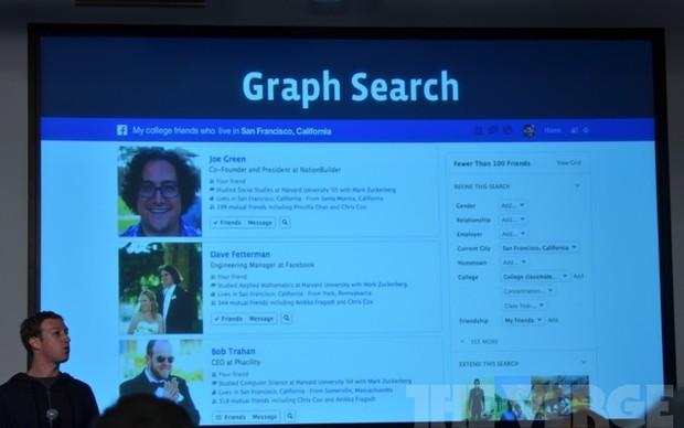 Graph Search; a nova busca social apresentada pelo Facebook nessa terça-feira em Palo Alto (Foto: Reprodução/The Verge)