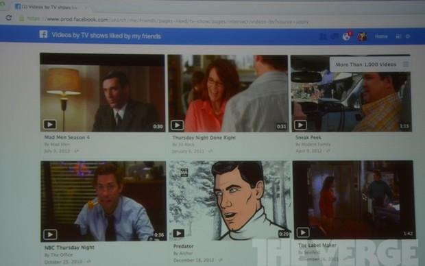Vídeos nos resultados das buscas do graph search (Foto: Reprodução/The Verge)