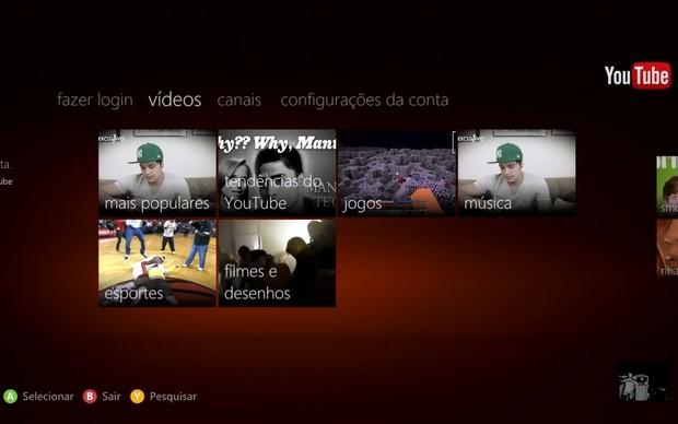 YouTube no Xbox 360 (Foto: Reprodução)