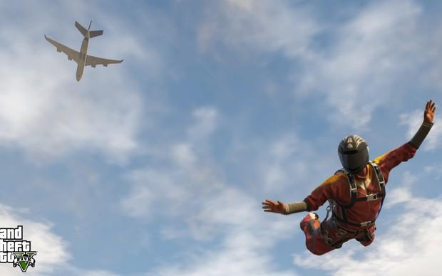 Saltar de paraquedas deverá ser ainda mais gratificante com os novos gráficos de GTA 5 (Foto: gematsu.com) (Foto: Saltar de paraquedas deverá ser ainda mais gratificante com os novos gráficos de GTA 5 (Foto: gematsu.com))