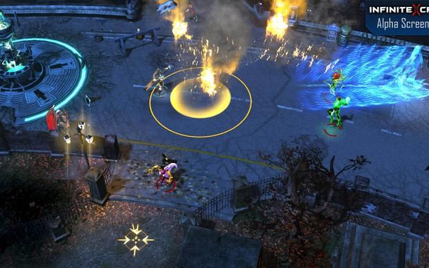 Batalha em Infinite Crisis, onde podemos ver uma base do mapa de dominação (Foto: Divulgação)