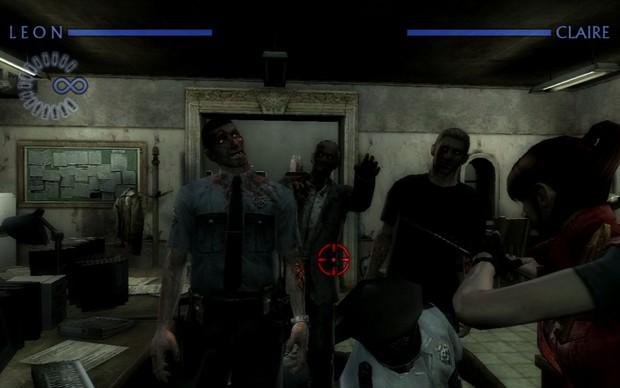 Leon e Claire cercados de zumbis em Resident Evil: Darkside Chronicles (Foto: Divulgação) (Foto: Leon e Claire cercados de zumbis em Resident Evil: Darkside Chronicles (Foto: Divulgação))