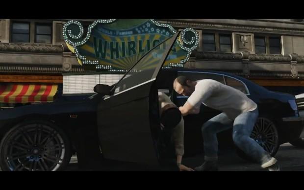 Trevor rouba um carro com toda a gentileza característica de GTA (Foto: Reprodução) (Foto: Trevor rouba um carro com toda a gentileza característica de GTA (Foto: Reprodução))