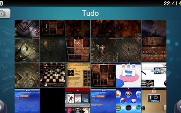 """Na fila """"Tudo"""" você confere todas as fotos armazenadas no seu PS Vita (Foto: Reprodução / TechTudo)"""