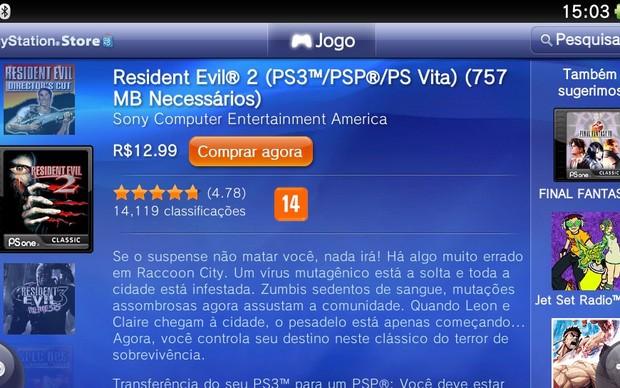 Resident Evil 2 está entre os jogos clássico de PSOne (Foto: Reprodução / TechTudo)