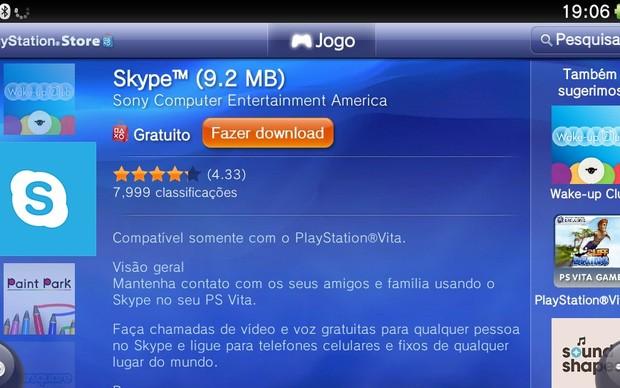 Skype na lista de aplicativos para o PS Vita na PS Store (Foto: Reprodução / TechTudo)
