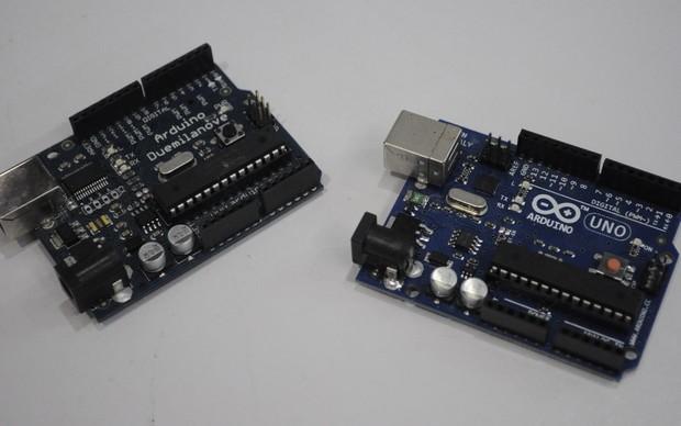 Dois modelos de Arduino (Foto: Giordano Tronco) (Foto: Dois modelos de Arduino (Foto: Giordano Tronco))