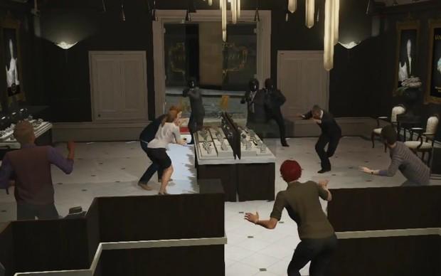 No modo barulhento os assaltos envolvem invadir lojas gritando e com armas pesadas (Foto: Reprodução) (Foto: No modo barulhento os assaltos envolvem invadir lojas gritando e com armas pesadas (Foto: Reprodução))