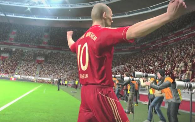 Robben comemora gol do Bayern de Munique em PES 2014 (Foto: Divulgação) (Foto: Robben comemora gol do Bayern de Munique em PES 2014 (Foto: Divulgação))