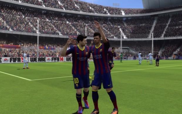 Neymar e Messi em Fifa 14 (Foto: Reprodução / TechTudo)