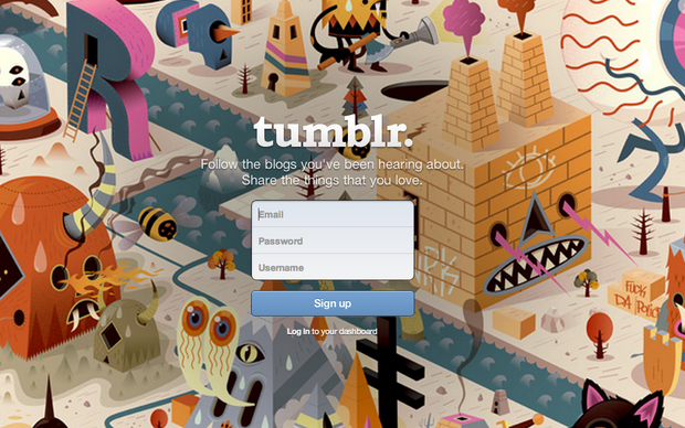 Página inicial do Tumblr, plataforma de blogs e rede social num só lugar (Foto: Reprodução/Tumblr)