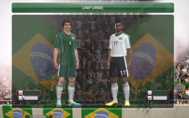 Camisa da Seleção Brasileira conta com modelos bizarros em PES 2014 (Foto: Reprodução / TechTudo)