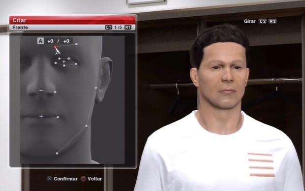 É possível personalizar o rosto de seu atleta virtual em PES 2014 (Foto: Reprodução / TechTudo)