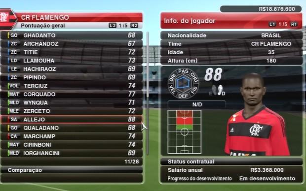 Allejo no Flamengo (Foto: Reprodução / TechTudo)