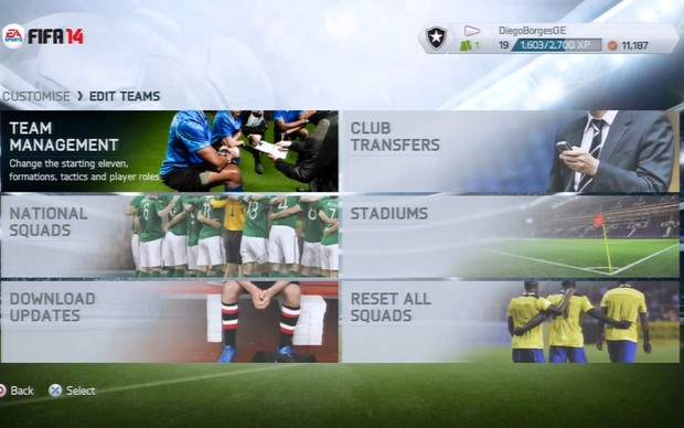 enu principal de Fifa 14 (Foto: Reprodução / TechTudo)