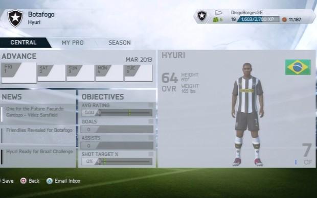 Novo menu do modo Carreira em Fifa 14 (Foto: Reprodução / TechTudo)