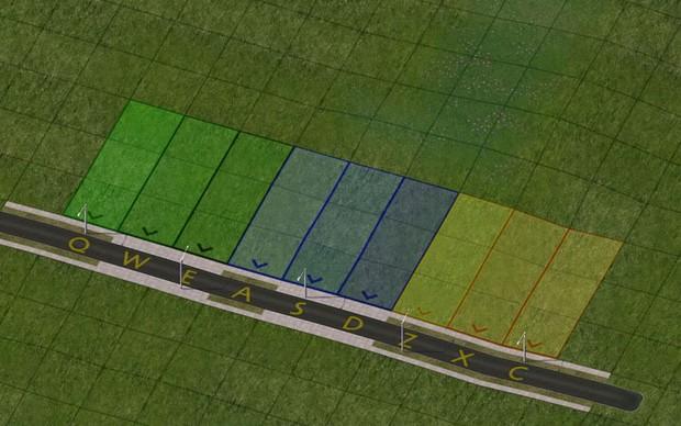 Exemplo de zoneamento de uma região, as cores verde, azul e amarelo representam respectivamente zonas residenciais, comerciais e industriais. (Foto: Divulgação) (Foto: Exemplo de zoneamento de uma região, as cores verde, azul e amarelo representam respectivamente zonas residenciais, comerciais e industriais. (Foto: Divulgação))