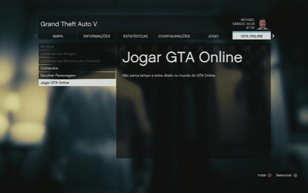A opção de jogar GTA Onlne (Foto: Reprodução / TechTudo)