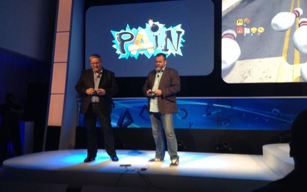 O curioso game Pain foi revelado na BGS 2013 (Foto: Diego Borges / TechTudo)