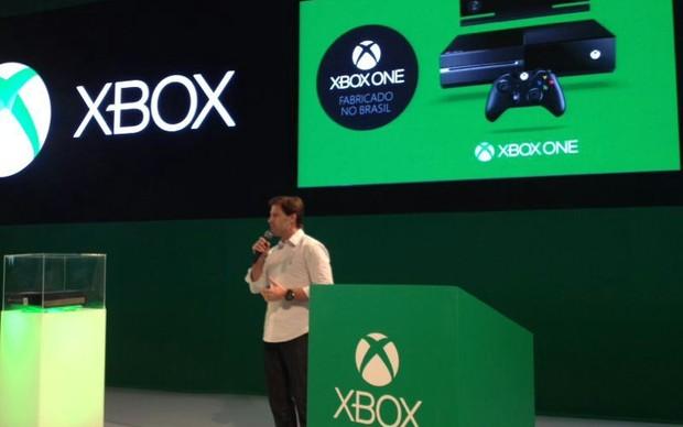 Francisco Simon, diretor de marketing da Microsoft, confirmou a produção nacional  do Xbox One durante a BGS 2013 (Foto: Pedro Cardoso/ TechTudo)
