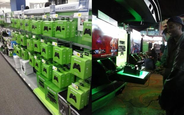 Consoles espalhados pela Times Square, NY, garantiram a diversão no lançamento do Xbox One (Foto: Marcelo Mendes/ TechTudo)