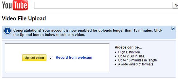 YouTube com vídeos acima de 15 minutos