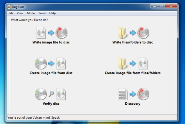 ImgBurn rodando no Windows 7
