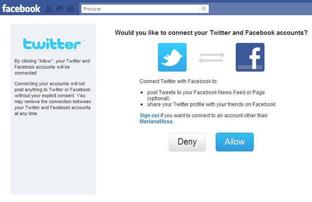 Integração Twitter e Facebook